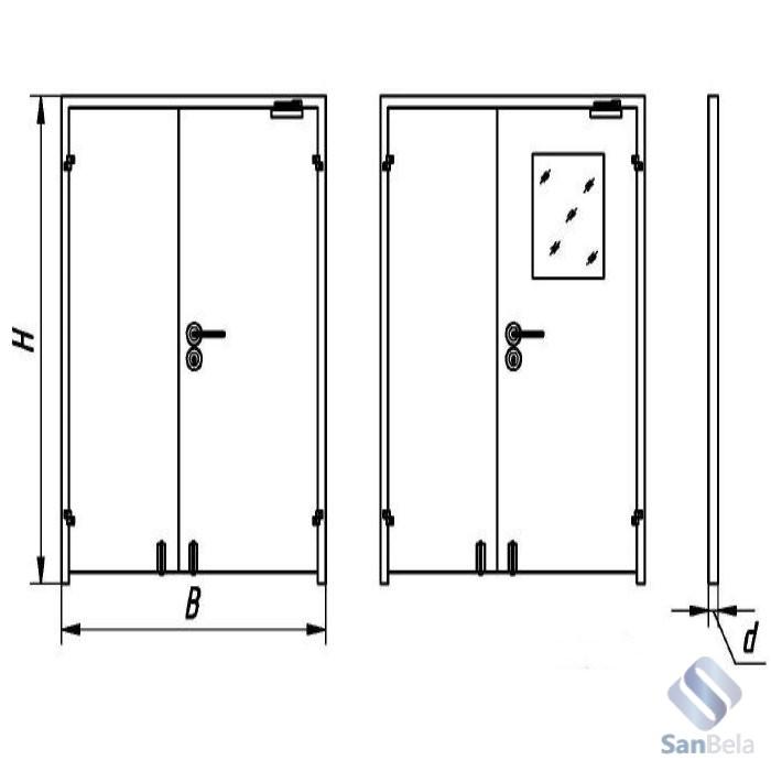 Двухстворчатые двери для чистых помещений