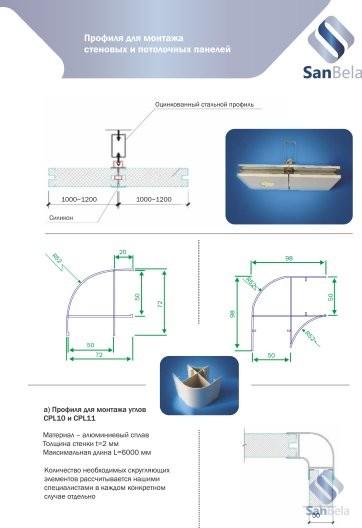 Профиля для монтажа стеновых и потолочных панелей