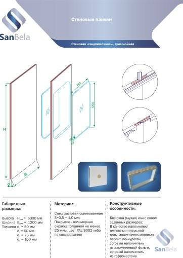 Стеновая сандвич панель трехслойная для чистых помещений