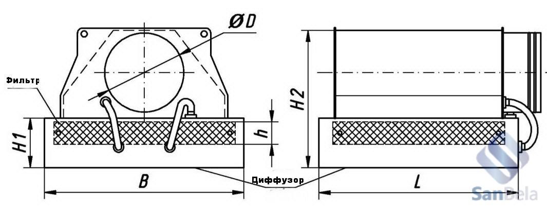 Воздухораспределитель с вертикальным подключением подающего воздуховода X/b V L x B (h)